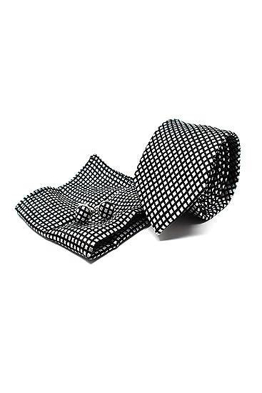 Corbata de hombre, Pañuelo de Bolsillo y Gemelos Negro a Cuadros ...