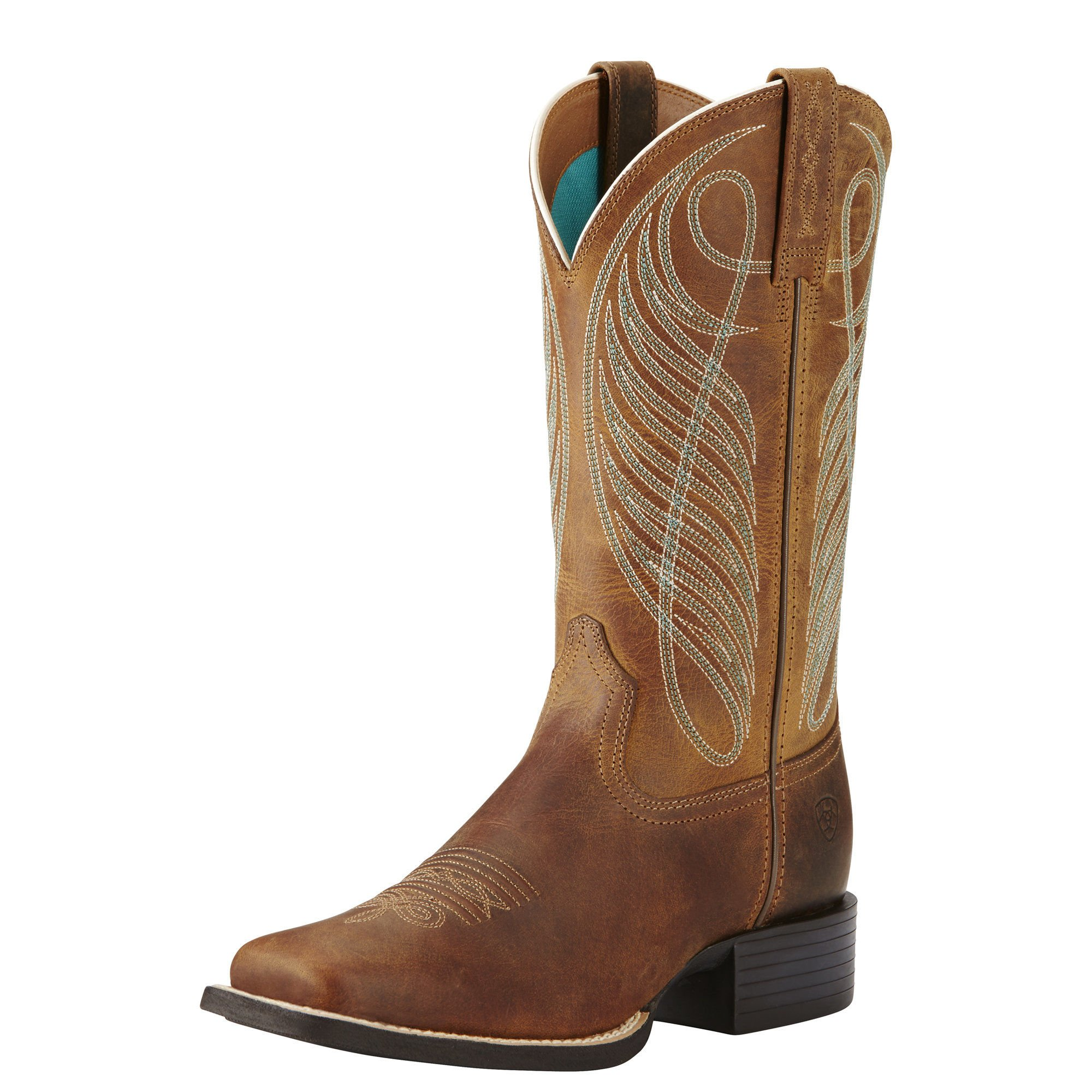 Ariat Women's Round Up Wide Square Toe Western Cowboy Boot, Powder Brown, 9 B US