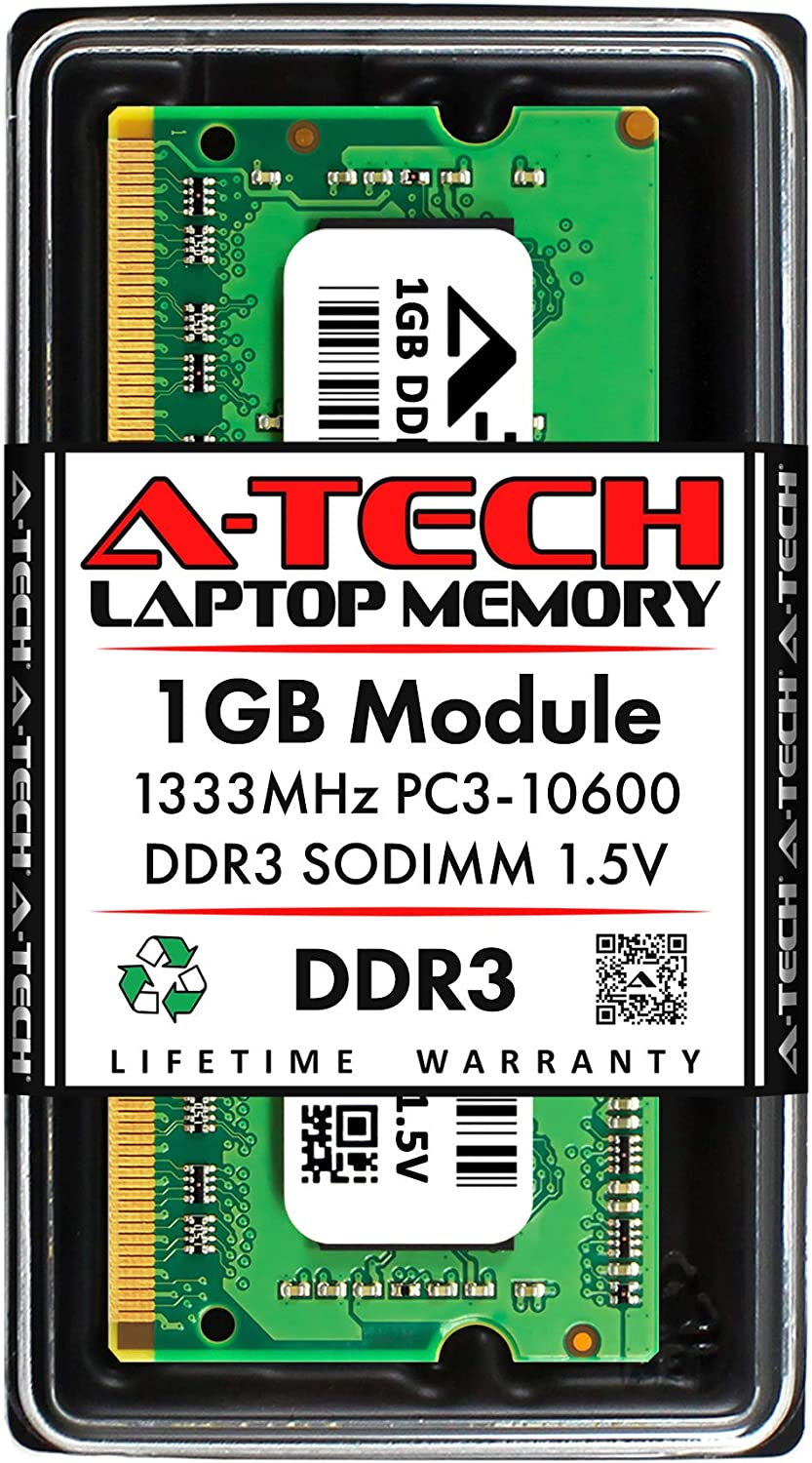 A-Tech 1GB DDR3 1333MHz PC3-10600 Laptop RAM SODIMM Module | 1.5V Non-ECC Unbuffered 204-Pin Memory Upgrade Stick