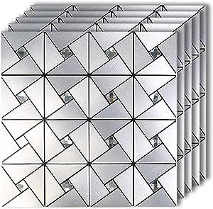 HomeyMosaic Peel and Stick Tile Backsplash Stick on Kitchen Wall Decor Aluminum Surface Metal Mosaic Smart Tiles Wall Sticker,Windmill Puzzle Glass Mixed(12