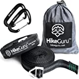 Hammock Straps by HikeGuru - with Metallic Buckle System instead of Loops, 2 x 5kN Heavy Duty Carabiners compatible with all ENO hammocks
