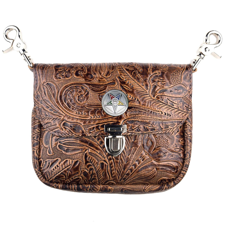 Custom Masonic Eastern Star Hand Genuine Leather Floral Side Purse