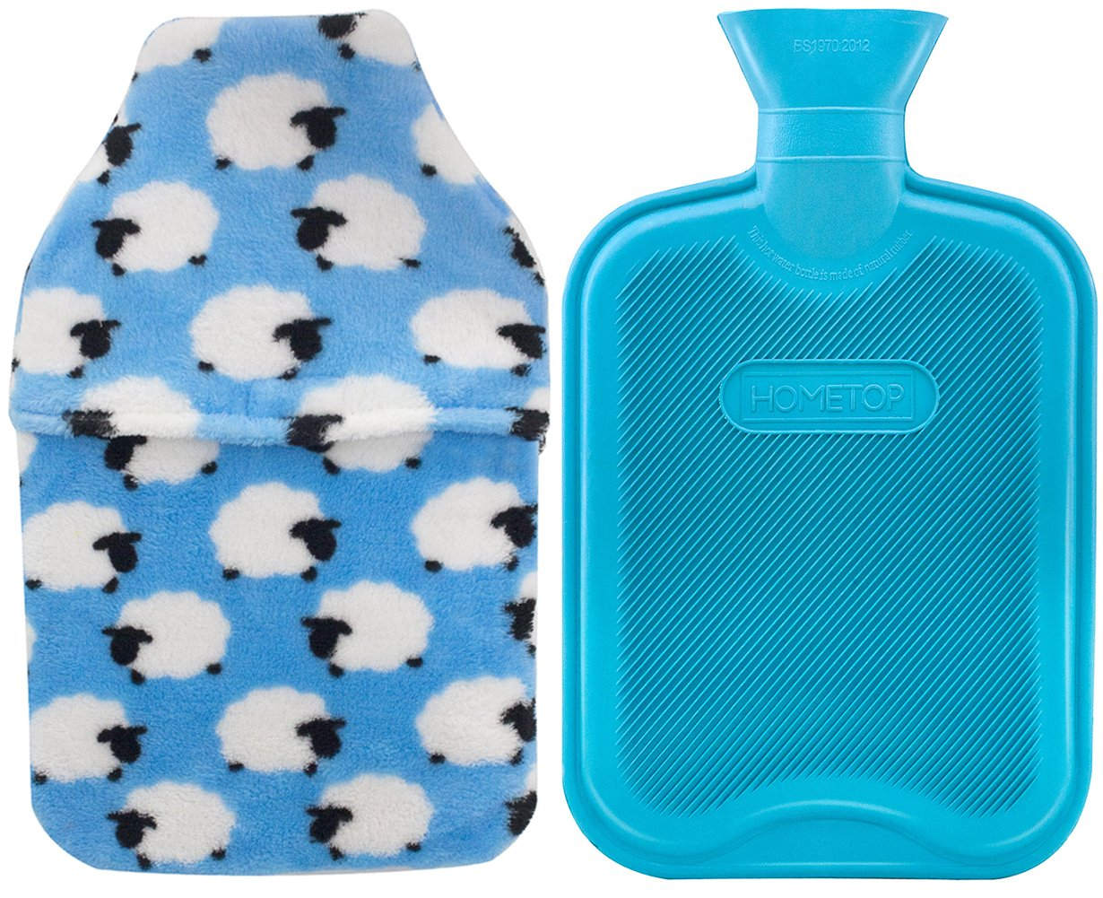 HomeTop Premium Classic Rubber Hot or Cold Water Bottle with Soft Fleece Cover (2 Liters, Blue/Blue Sheep Envelope Cover)