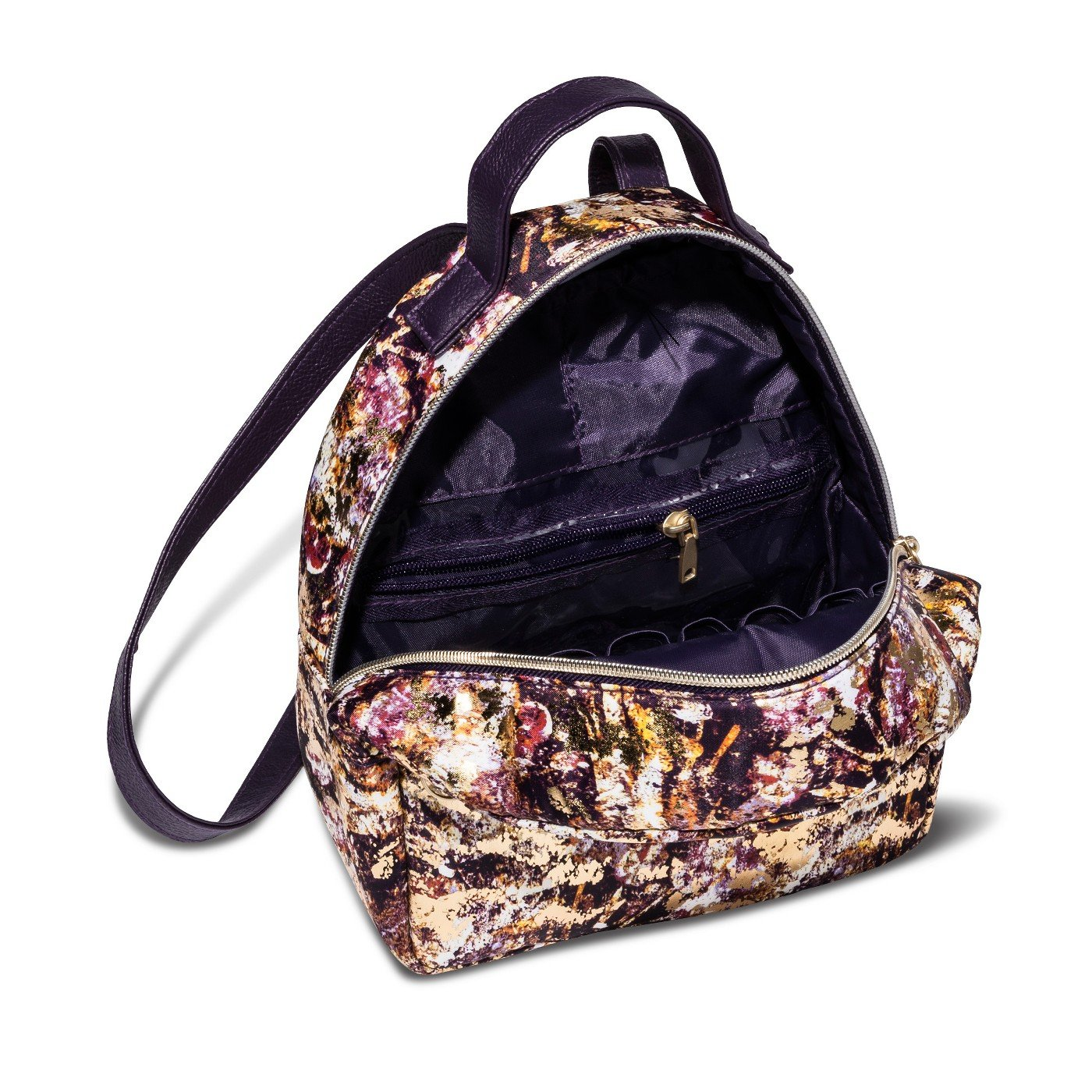 Sonia Kashuk153; Cosmetic Bag Cosmetic Backpack Distress Floral with Foil MULTI-COLORED