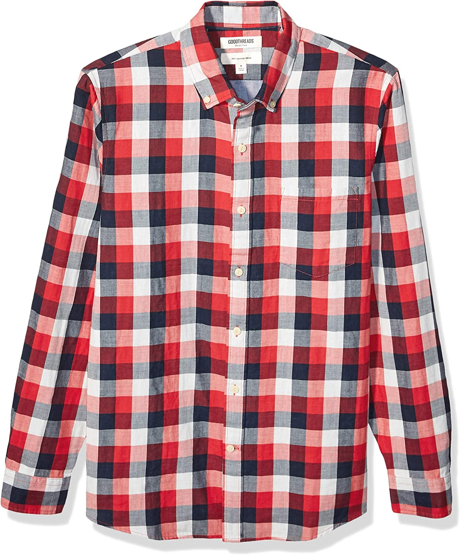 camicia in denim da uomo double-face Goodthreads vestibilit/à slim a maniche lunghe Marchio