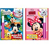 Disney's Characters Magic Pen Painting Activity Books Set with ZIPPER BAG. Includes:MICKEY & MINNIE MOUSE Magic Pen Painting Books