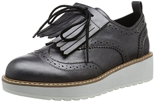London Ramsy Tassel, Zapatos de Cordones Brogue para Mujer, Plateado (Chrome), 41 EU Pepe Jeans London