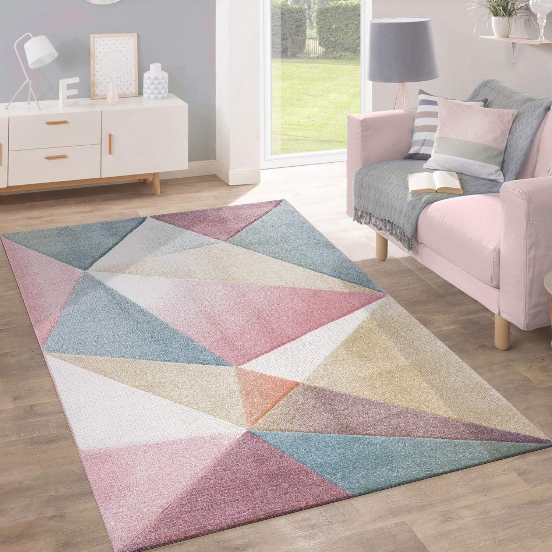 Alfombra Pelo Corto Tendencia Pastel Diseño Geométrico Inspiración Multicolor, tamaño:160x220 cm