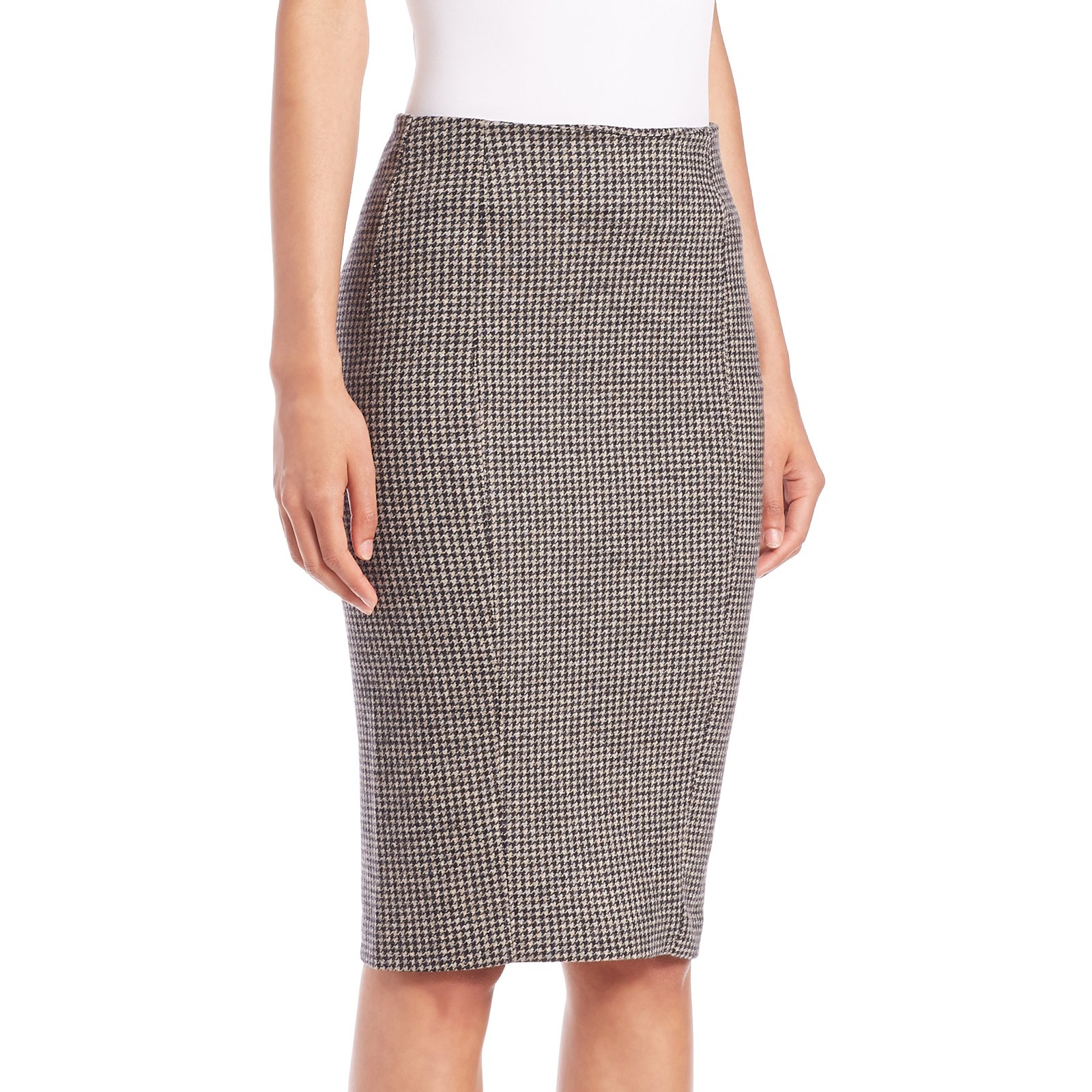 MaxMara Women's Mida Houndstooth Pencil Skirt Sz 12 Brown
