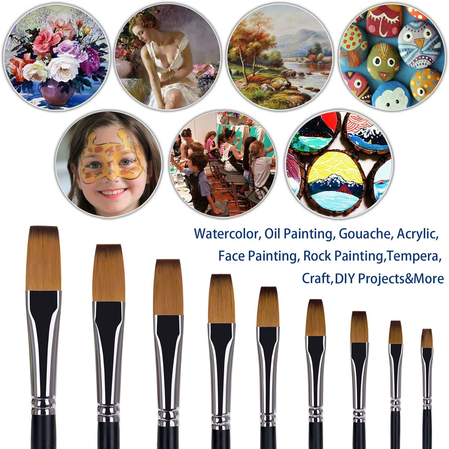 9pcs Watercolor Brushes Artist Round Paint Brushes Set Paint Brushes Round Pointed Tip Nylon Hair Artist Acrylic Brush Watercolor Oil Painting for Watercolors,Acrylics,Inks,Gouache,Oil and Tempera