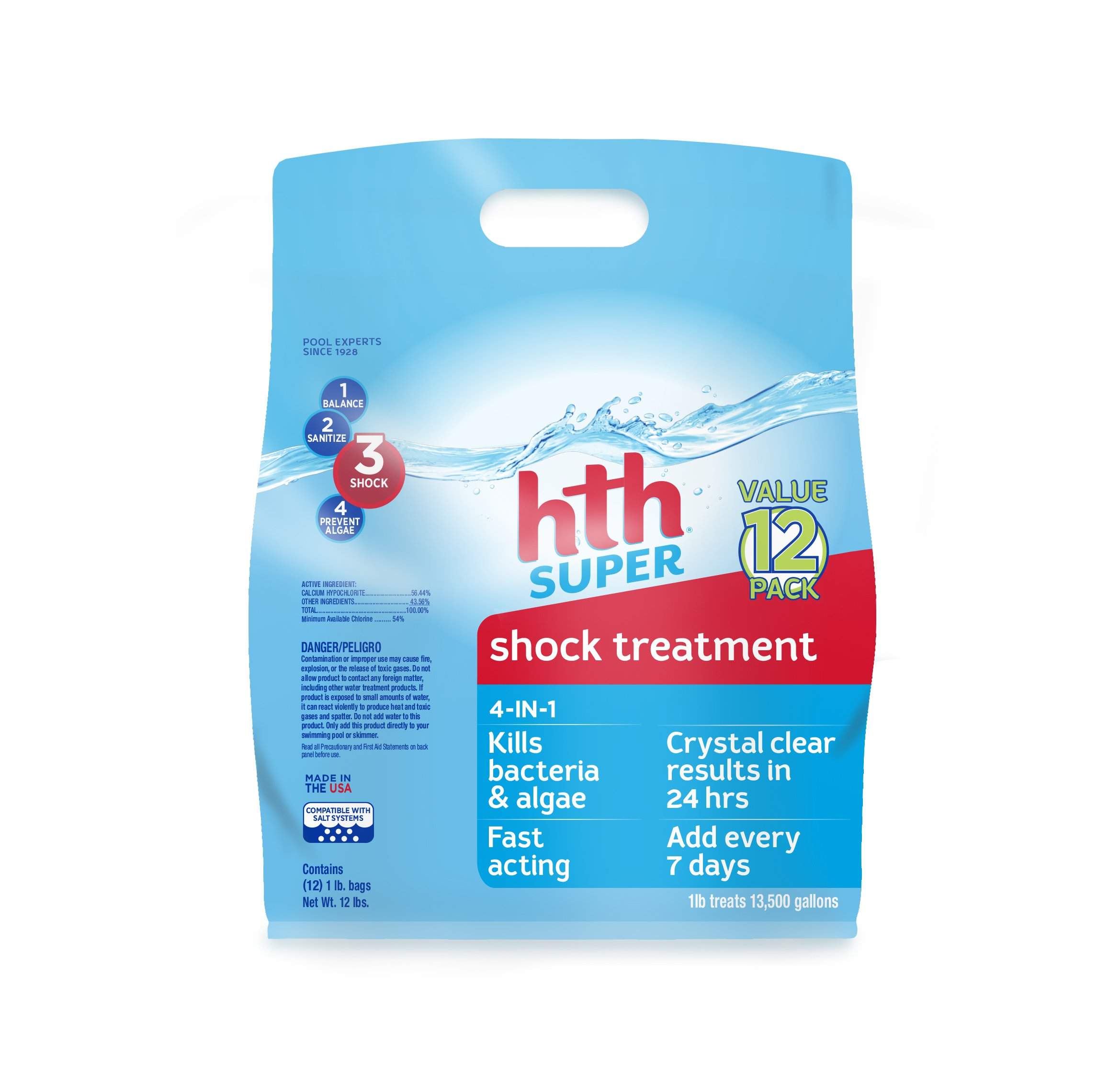 HTH Pool Shock Super Shock Treatment 4-in-1 12 count (52016)