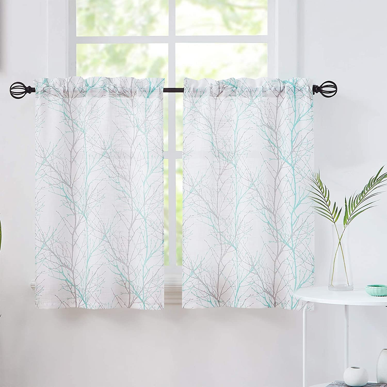 Fmfunctex Semi-Sheer White Tier Curtains 36-inches Aqua Grey Tree Half Window Kitchen Curtain Set for Basement Loundry Room Café 2 Panels