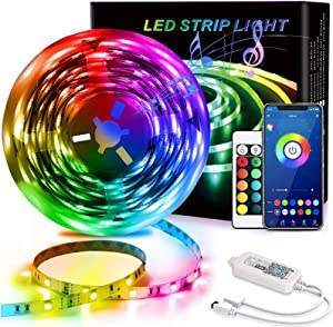QDH Led Strip Lights Waterproof 20ft Smart Light Strips with App Control Remote, 5050 RGB Led Lights for Bedroom, Music Sync Color Changing Lights for Room Party, Kitchen, Home Decoration