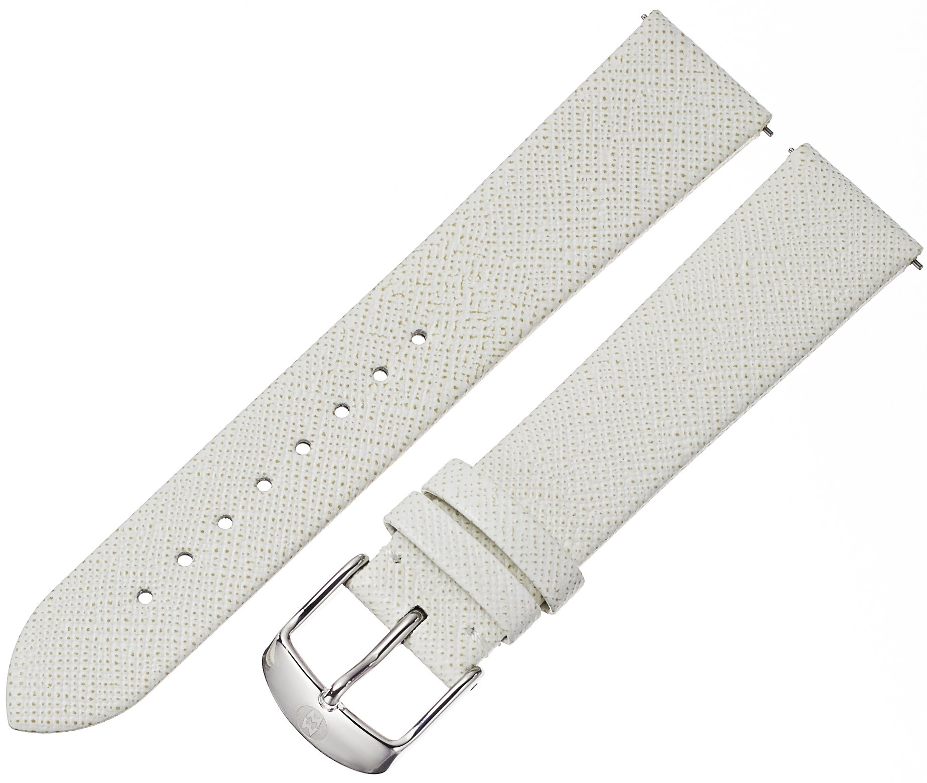 MICHELE Women's 12mm '16mm Straps' Leather Watch Band, Color:White (Model: MS18AN060293)