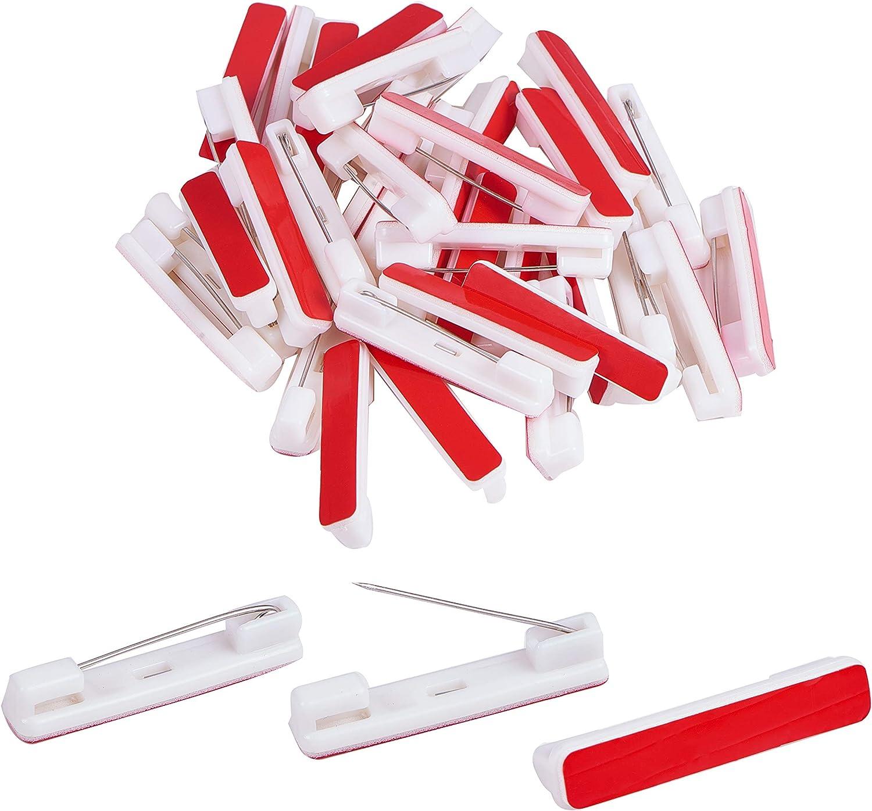 PandaHall Elite 120 alfileres de Seguridad de plástico con Base Adhesiva para Broche, para Tarjetas de identificación, Etiquetas, artesanales, Color Rojo