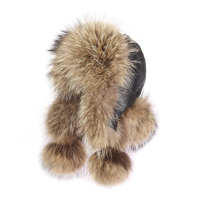 Hombre mapache Gorro pelo-Gorro de zorro piel de aviador Invierno Gorro  Gorro de esquí Fox usch Anka Polar Gorro ruso Real pelo natural tonos   Amazon.es  ... f668f400ac4