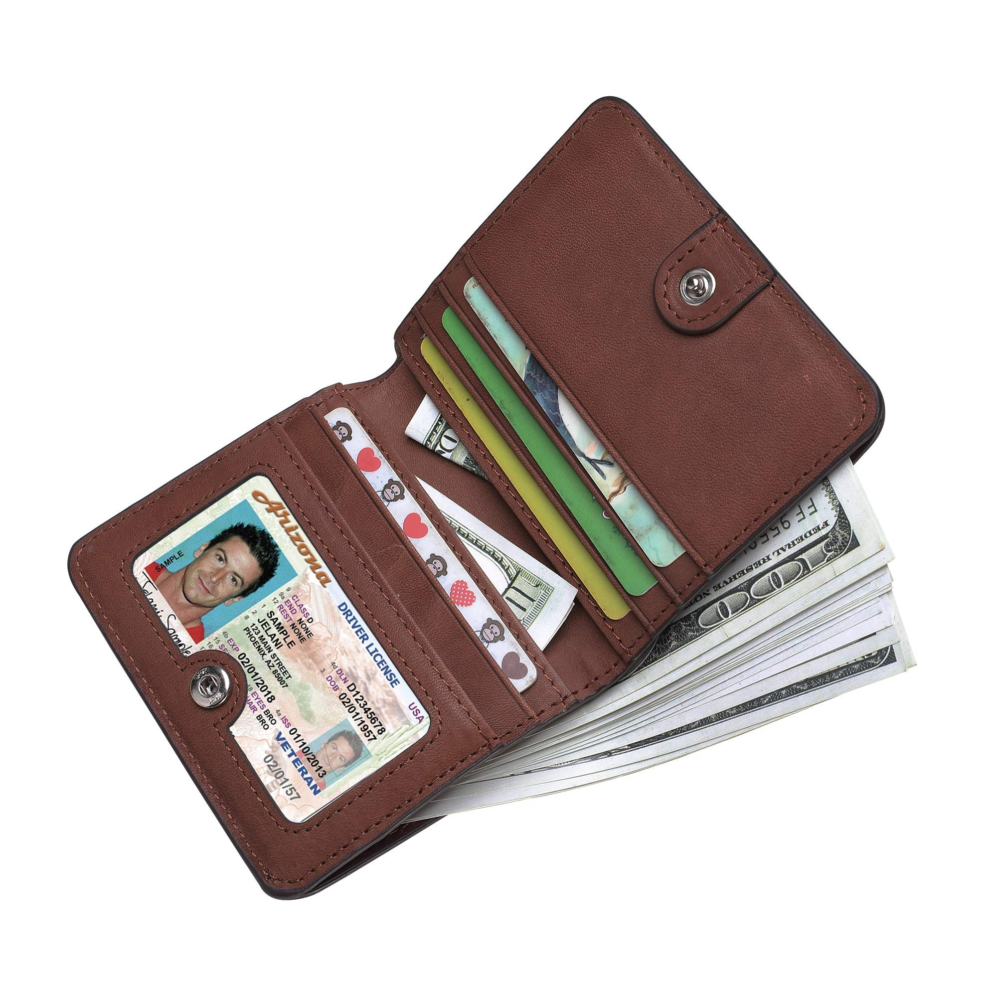 BIG SALE-AINIMOER Women's RFID Blocking Leather Small Compact Bifold Pocket Wallet Ladies Mini Purse with id Window (Vintage Brown) by AINIMOER (Image #7)