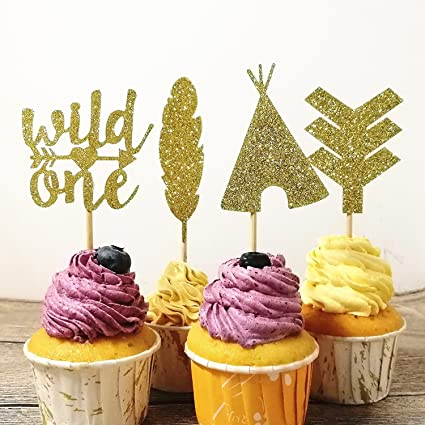 Giuffi 24 CT Tribal Boho Cupcake Toppers Wild One Arrow Feather Teepee First Birthday Party Decors