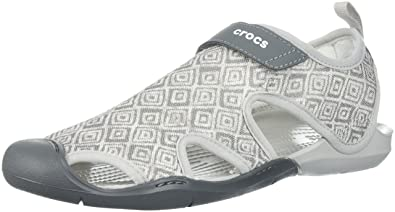 66154e3ae23eb7 Crocs Women s Swiftwater Graphic Mesh SNDL Sport Sandal Grey Diamond 5 ...
