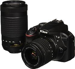 Nikon D3400 Cámara DSLR con Lente AF-P DX 18-55mm f/3-5-5.6G VR y AF-P DX 70-300mm f/4.5-6.3G ED VR
