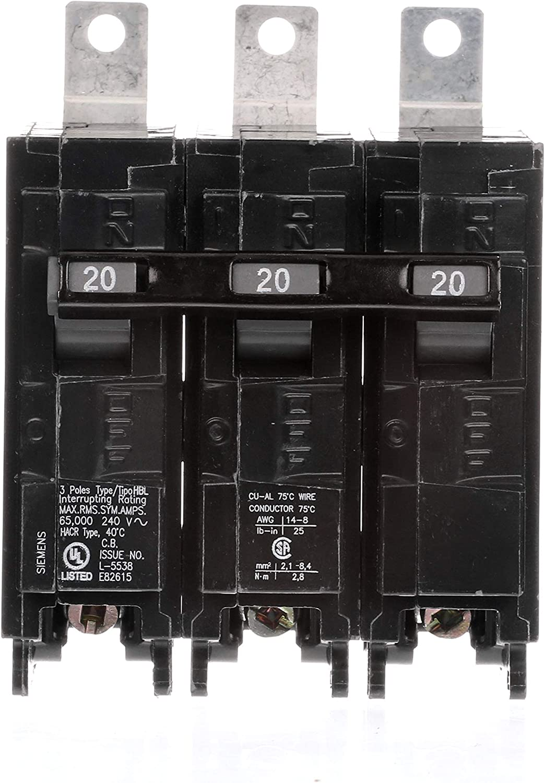HI Siemens B320HH 20-Amp Three Pole 240-Volt 65KAIC Bolt in Breaker Siemens