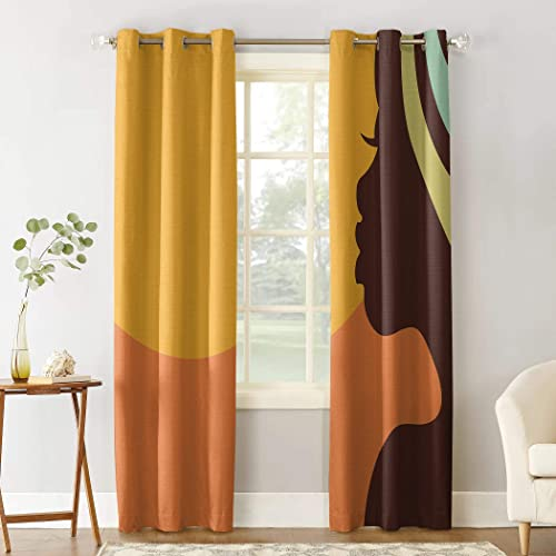 Beauty Decor Polyester Fabric Curtains African Women Privacy Window Curtains Set