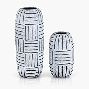 TERESA'S COLLECTIONS Set of 2 Rustic Flower Vases, Tribal Hand Painting Ceramic Decorative Vases with Stripe Pattern for Kitchen,Office,Wedding or Living Room(White and Grey)
