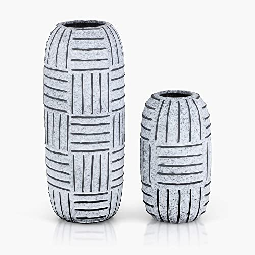 TERESA S COLLECTIONS Rustic Ceramic Flower Vases, Decorative Tribal Grey Hand Painting Vases with Textured Lines for Kitchen,Office or Living Room Set of 2