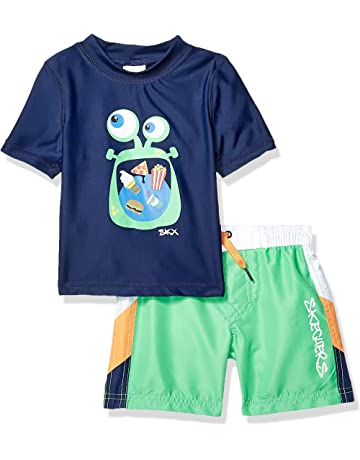 5f4c28c86b01 Skechers Boys Suit Set with Trunks and Rashguard Swim Shirt