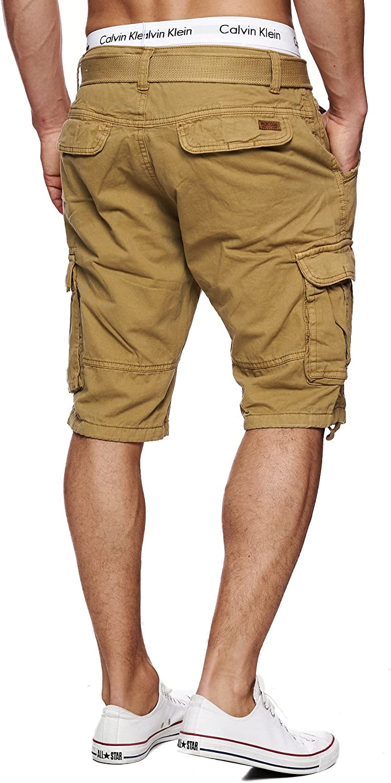 Corto Pantalone Bermuda Estate per Uomo Men Pants Cargo Short Pantalone Estivo Cintura 100/% Cotone Indicode Uomo Monroe Cargo ZA Pantaloncini con 6 Tasche incl