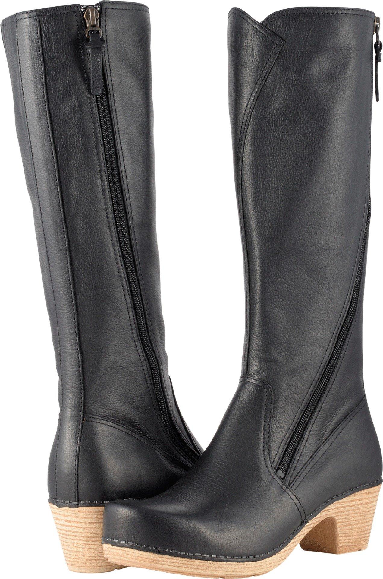 Dansko Women's Martha Boot, Black Tumbled Pull up, 36 EU/5.5-6 M US
