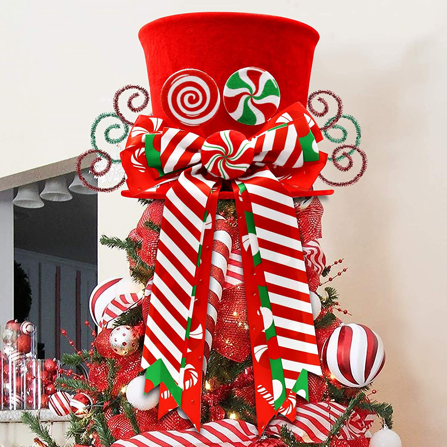 CiyvoLyeen Christmas Candy Canes Tree Topper Red Hat with Peppermint Bows Ornament Winter Lollipop Holiday Home Decoration Xmas Festive Gift Ideas Supplies