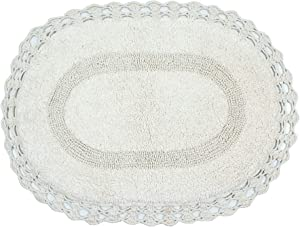 "Home Weavers Hampton Crochet Bathmat Collection Absorbent Cotton Soft Reversible Bath Rug, Machine Washable, 17""x24"", Ivory"