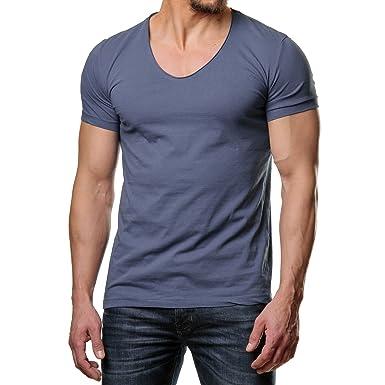 7232ceec442a EightyFive Herren T-Shirt Basic Regular Fit Rundhals Schwarz Weiß Beige  EF-2823,