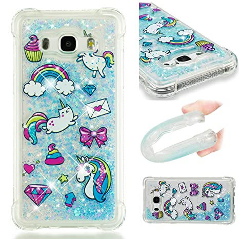 Funluna Funda Samsung Galaxy J5 2016, Carcasa Glitter Líquido 3D Bling Silicona Flowing Brillar Sparkle Cristal Choque Absorción Cubierta para Samsung ...