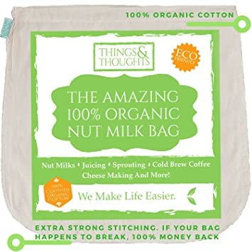 El increíble algodón orgánico tuerca leche bolsa w/de calidad alimentaria Estameña por cosas y
