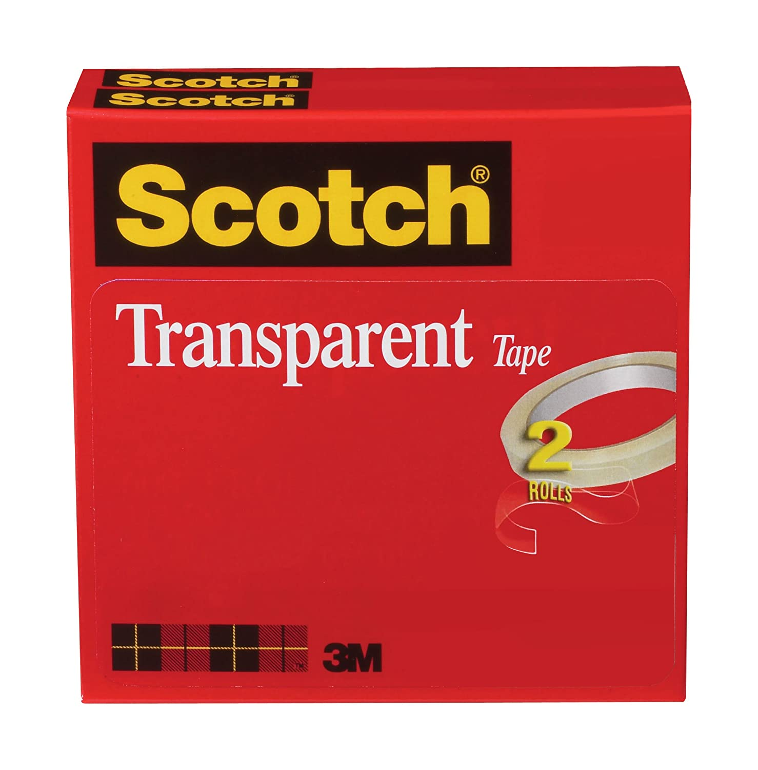 Great for Gift Wrapping Engineered for Office and Home Use 2 Rolls 600-2P34-72 3 Inch Core Boxed 3//4 x 2592 Inches Doesnt Yellow Glossy Finish Scotch Transparent Tape