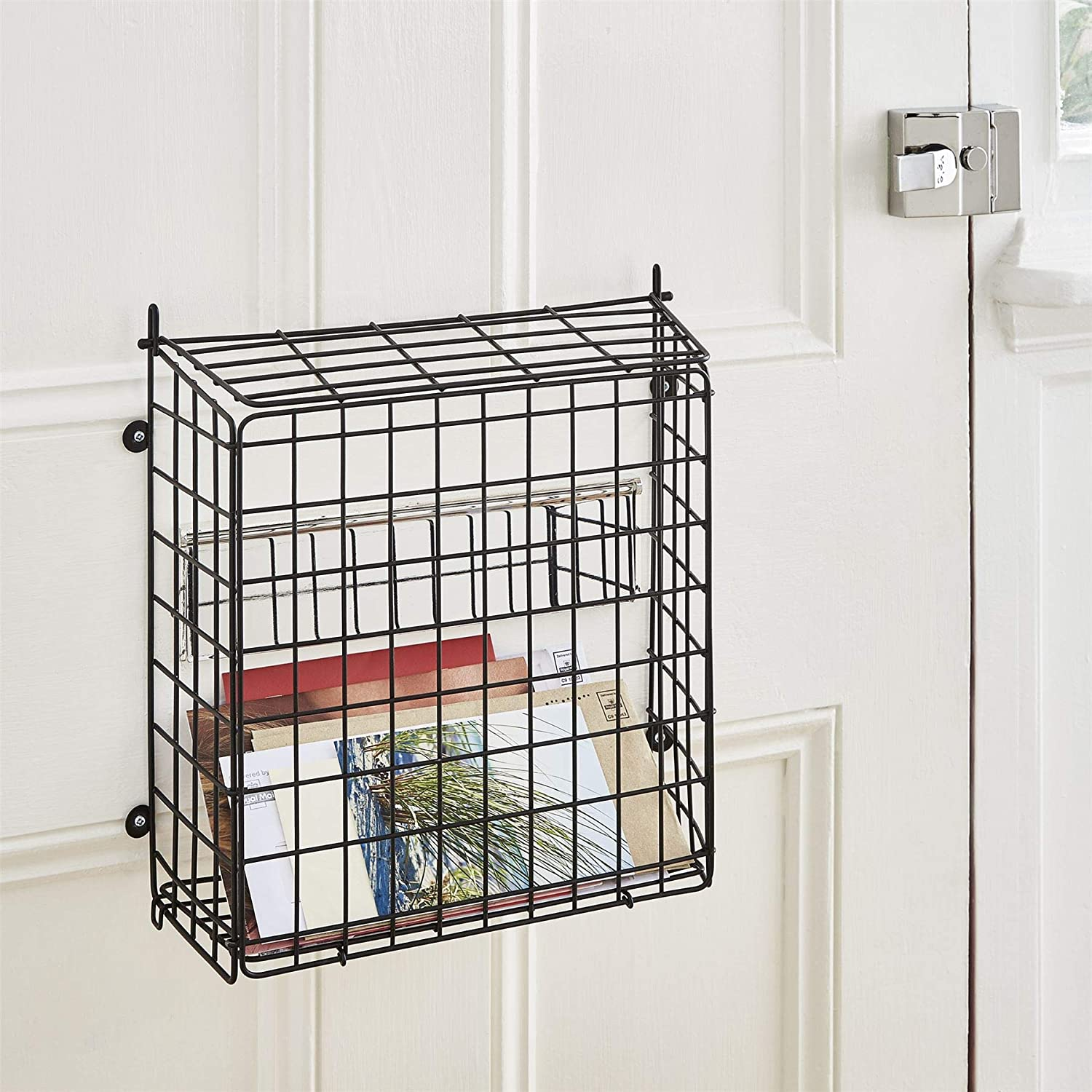 Direct Online Houseware Black Letter Box Catcher Cage with Lift Up Lid, 33.5cm H x 32cm W x 13cm D ROW2521B