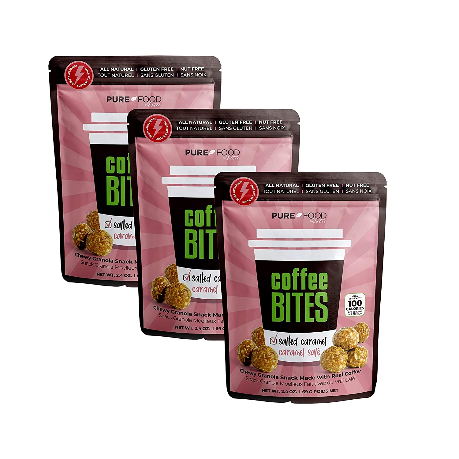MADE GOOD Alternative - SALTED CARAMEL - Granola Cereal Bites Organic Chewy Coffee Granola Bars Vegan Made with Healthy, Crispy, Allergy Free Snacks Best for School and Office Lunches (3 Bags, 2.4 Oz. Each) by Pure Food by Estee
