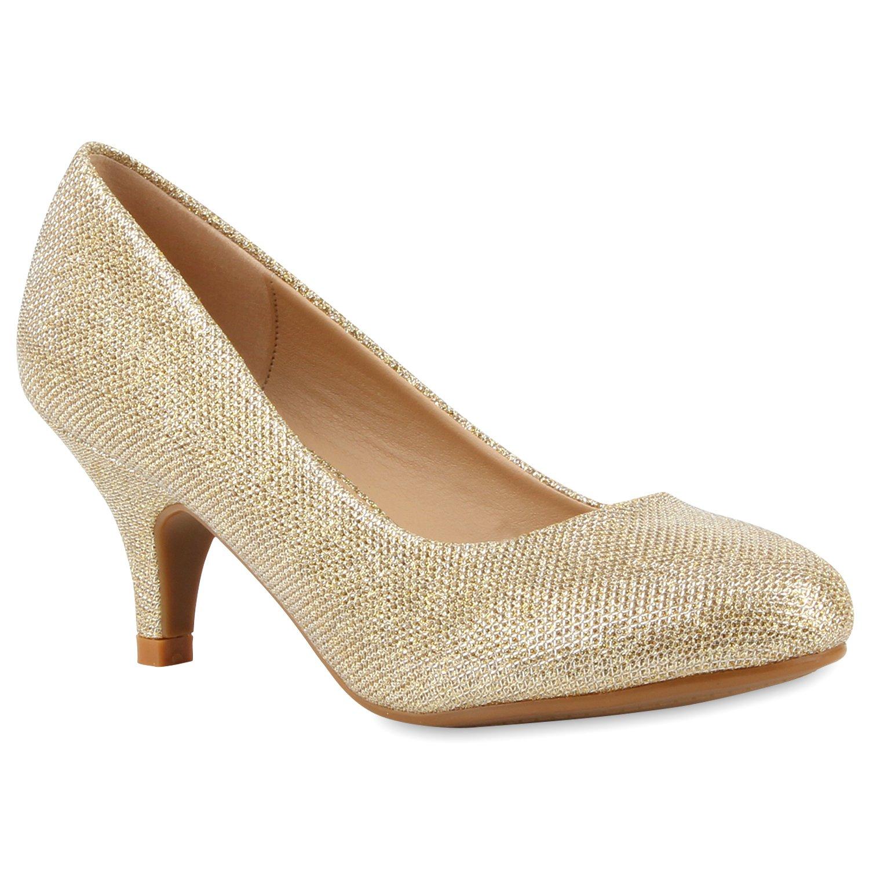 Stiefelparadies Damen Klassische Pumps Flandell Gold Gold 2018 Letztes Modell  Mode Schuhe Billig Online-Verkauf