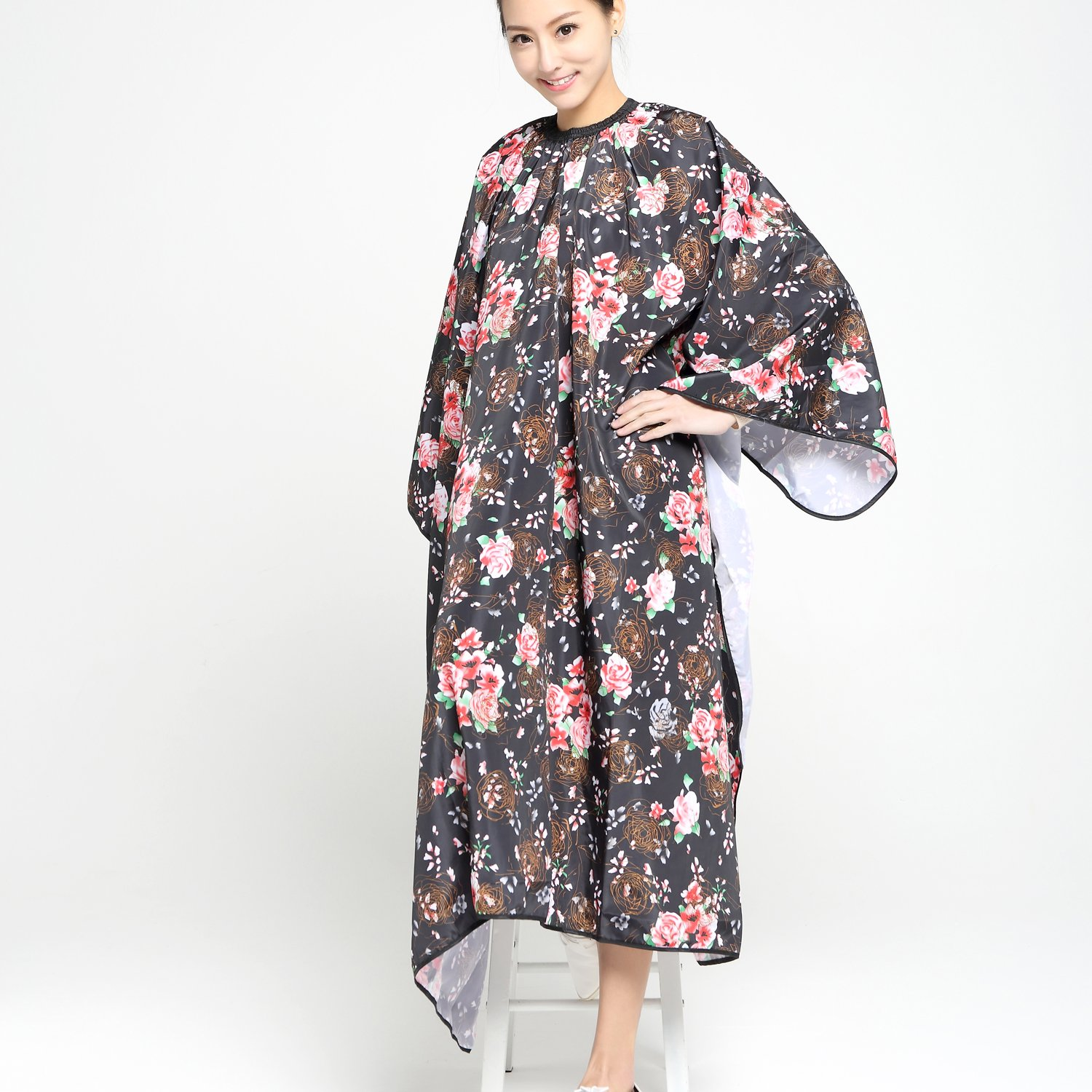 Salon Professional Hair Styling Cape,Colorfulife Hair Cutting Rose Flower Bronzing Waterproof Hairdresser Wai Cloth Barber Gown Hairdressing Wrap,55''x63'' K064 (Rose) by Colorfulife (Image #5)