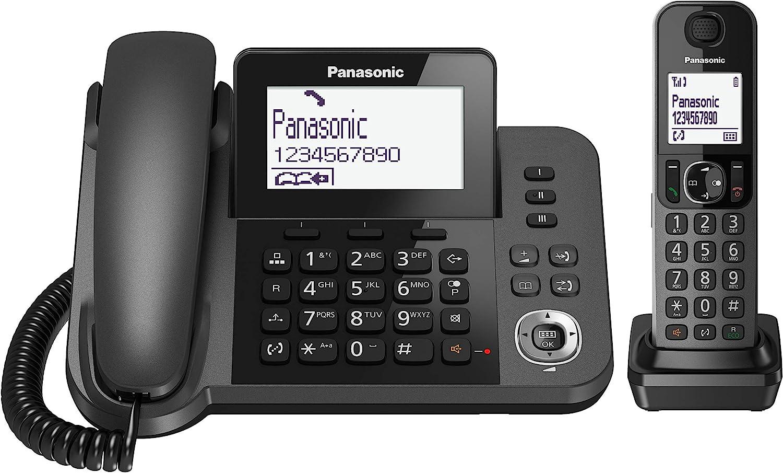 Panasonic KX-TF310 - Teléfono Fijo Inalámbrico con Supletorio Portátil (2 en 1, LCD, Teclas Grandes, Agenda de 100 Números, Bloqueo de Llamadas, Modo ECO, Reducción Ruido, Manos Libres) Color Negro