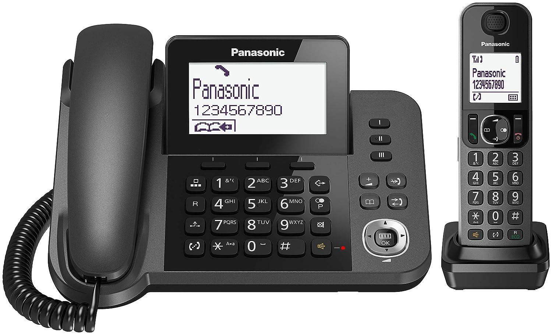 Panasonic KX-TF310 - Teléfono fijo inalámbrico (LCD, teclas Grande, agenda de 100 números, bloqueo de llamadas, modo ECO, 2 en 1), color negro