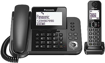 Panasonic KX-TF310 - Teléfono Fijo Inalámbrico con Supletorio Portátil (2 en 1, LCD, Teclas Grandes, Agenda de 100 Números, Bloqueo de Llamadas, Modo ...