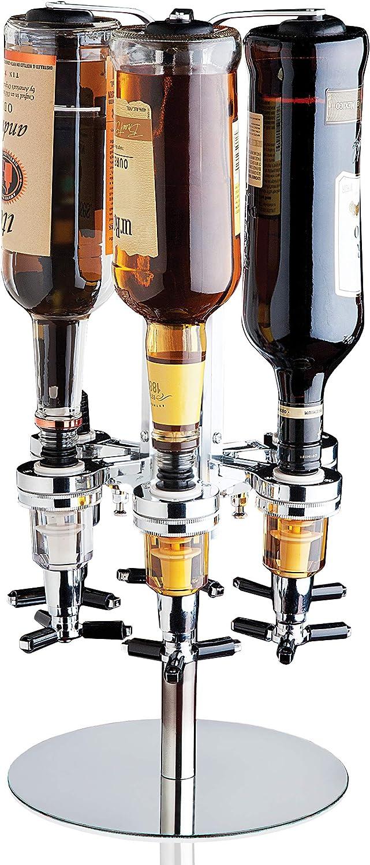 Godinger 6 Bottle Liquor Dispenser, Revolving Whiskey Bottle Dispenser Holder