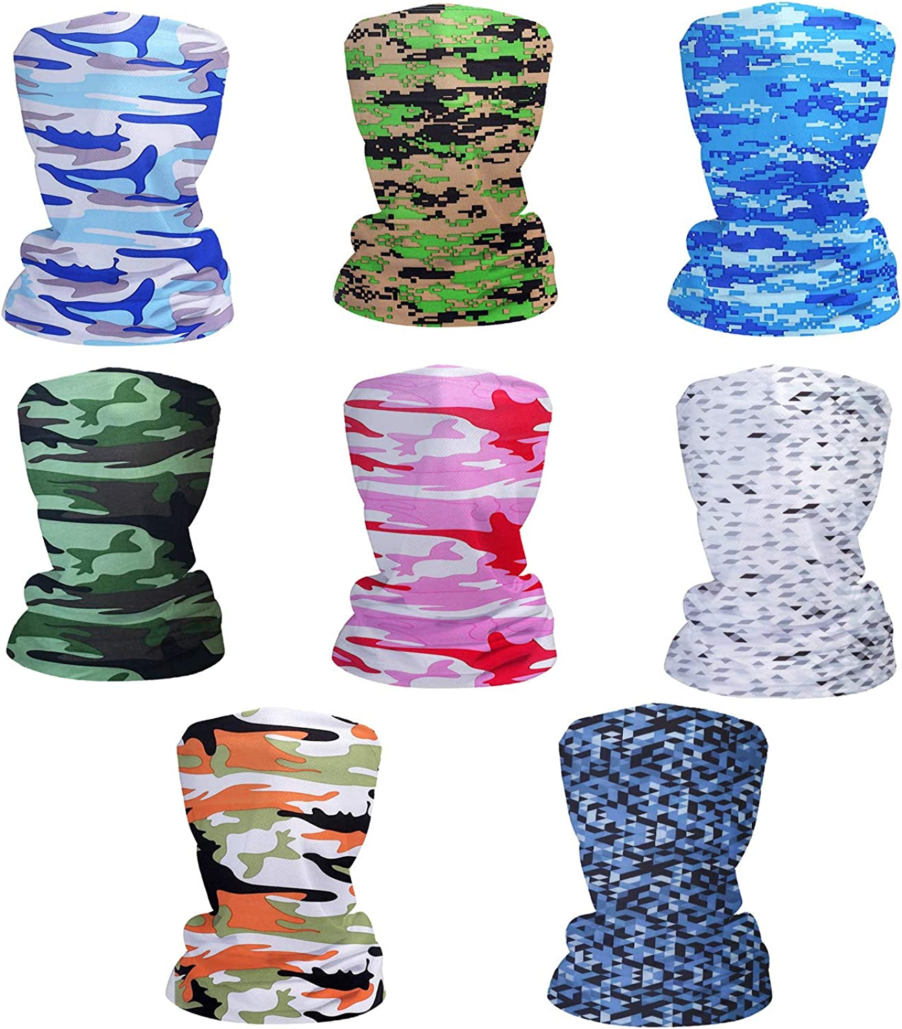 Fashion Face Dust Mask (8 PCS) Bandanas Sports & Casual Headwear Seamless Neck Gaiter, Headwrap, Balaclava, Helmet Liner