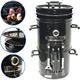 EasyGO EGP-FIRE-017 Big Bad Barrel Charcoal Barbeque 5 in 1 Can be Used as a Smoker Grill BBQ, Pizza Oven, Table & Fire Pit. 18-Inch Diameter-3 pcs, Tool Set