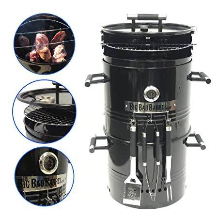 EasyGO EGP-FIRE-017 Big Bad Barrel Charcoal Barbeque 5 in 1 Can be Used as a Smoker Grill BBQ, Pizza Oven, Table Fire Pit. 18-Inch Diameter-3 pcs, Tool Set