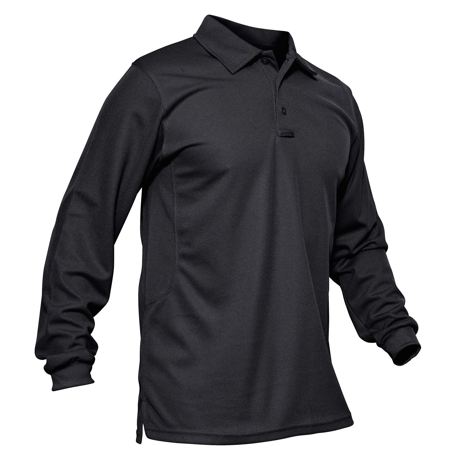MAGCOMSEN Men's Long Sleeve Polo Shirt Solid Tactical T Shirt Fitted Golf Polo Shirt Black by MAGCOMSEN