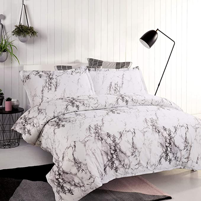 Amazon Com Bedsure Marble Design Duvet Cover Set With Zipper Closure Printed Bedding Set Full Queen 90x90 Inches 3 Pieces 1 Duvet Cover 2 Pillow Shams Ultra Soft Hypoallergenic Microfiber Home Kitchen